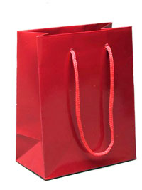 Gift Bag / Glossy finish red gift bag 15x12x6cm