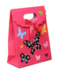 Gift Box / Medium pink butterfly fold flat gift box with vel