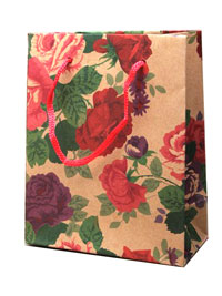 Gift Bag / 14.5x11.5x6cm Natural gift bag with floral print