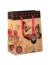 Gift Bag / 14.5x11.5x6cm Brown gift bag with butterfly print