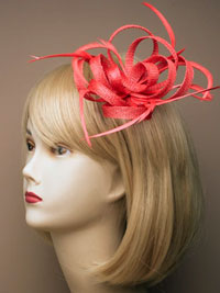 Fascinator / Oriel - Bright Looped sinamay net.