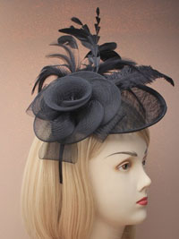 Fascinator / Heather - Large Black sinamay hatinator.