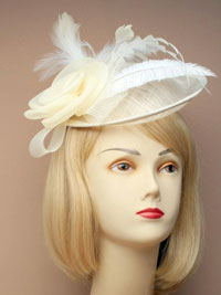 Fascinator / Heather - Cream large sinamay hatinator.