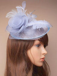 Fascinator / Heather - Large grey sinamay hatinator.