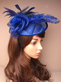 Fascinator / Heather - Navy large sinamay hatinator.
