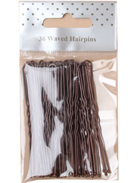 Hairpins / Pack of 36 brown waved hairpins. 65mm