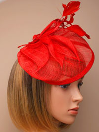 Fascinator / Olivia - Red Large looped sinamay hatinator.