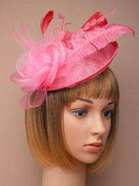 Fascinator / Heather - pink large sinamay hatinator.