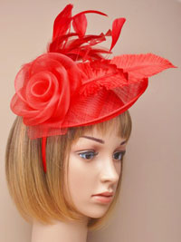 Fascinator / Heather - Red large sinamay hatinator.