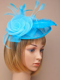 Fascinator / Heather - Turq large sinamay hatinator.