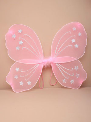 Fairy Wings / Pink fairy wings with silver glitter. Size : 4