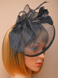 Fascinator / Olivia - Black Large looped sinamay hatinator.