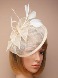 Fascinator / Olivia - Ivory Large looped sinamay hatinator.