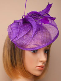 Fascinator / Olivia - Purple Large sinamay hatinator.