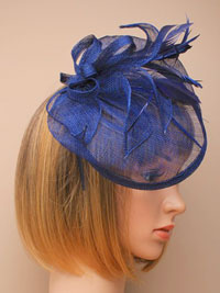 Fascinator / Olivia - Ink Navy large sinamay hatinator