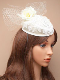 Hatinator / Bridal - Wedding Sinamay pillbox cap.