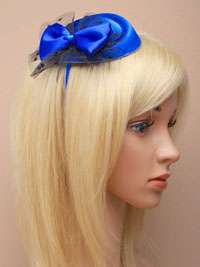 Clearance / Belle - Royal blue pillbox fascinator.