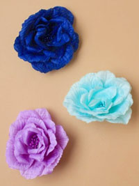 Clip / Large fabric flower on fork clip. 3 tonal blues