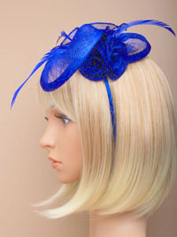 Fascinator / Eliza - Royal Sinamay curled rose fascinator.