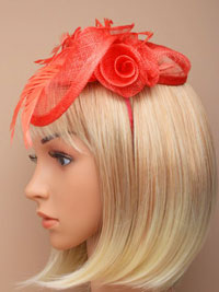Fascinator / Eliza - Coral Sinamay curled rose fascinator.