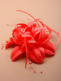Fascinator / Jasmin - Layered fabric flower with feathers.