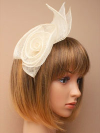 Aliceband / Catherine - Ivory coiled sinamay fascinator.