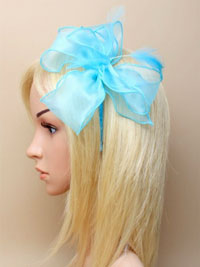 Fascinator / Florence - Aqua chiffon fabric fascinator.