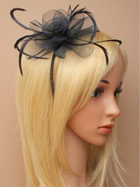 Fascinator / Josie - Black narrow aliceband with netting.