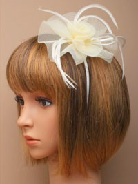 Fascinator / Josie - Cream narrow aliceband with netting.