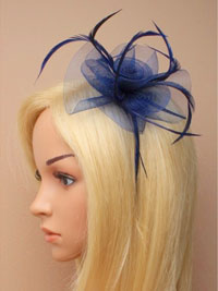 Fascinator / Josie - Navy narrow aliceband with netting.