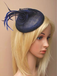 Fascinator / Lily - Navy sinamay beret cap fascinator.
