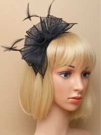 Fascinator / Verity - Black sinamay and feather fascinator.