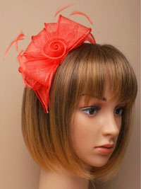 Fascinator / Verity - Coral Looped sinamay fascinator