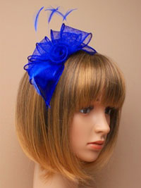 Fascinator / Verity - Royal blue looped sinamay fascinator.