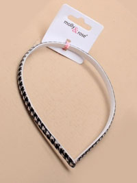 Clearance / 8mm wide houndstooth fabric aliceband.