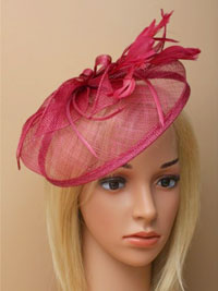 Fascinator / Cranberry Large looped hessian hatinator.