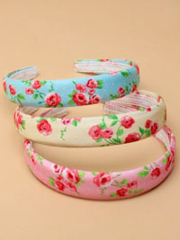 Aliceband / 2.5cm wide rose floral print fabric padded alice