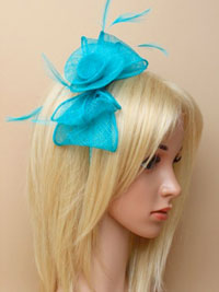 Fascinator / Faye - Aquamarine Looped sinamay fasinator.