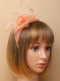Fascinator / Emily - Nude Looped sinamay and fine feathers