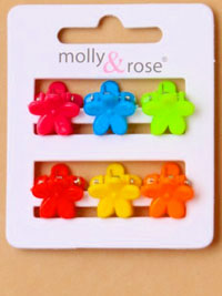 Clamp / 6pk small bright coloured flower mini clamps.