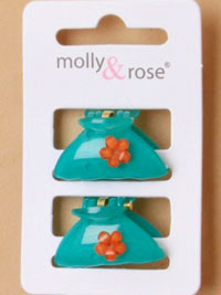 Clamp / 3cm plastic small clamp with flower motif. 2pk