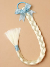 Elastic / Imitation blonde Plaited pony tail elastic / blue.