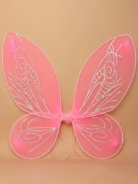 Fairy Wings / Pink net pointed fairy wings. 45x50cm.