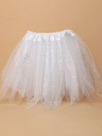Tutu / White net child size Tutu with sequins and glitter.