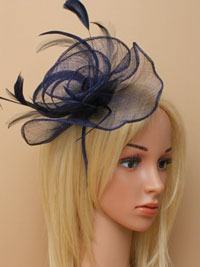 Fascinator / Libby - Navy large sinamay fascinator/alice.