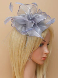 Fascinator / Fleur - Grey chiffon fabric fascinator /alice
