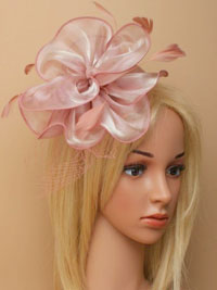 Fascinator / Fleur - Pink chiffon fabric fascinator/alice.