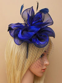 Fascinator / Fleur - Navy chiffon fabric fascinator/alice.