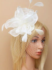 Fascinator / Fleur - Cream chiffon fabric fascinator/alice