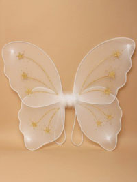 Fairy Wings / white net wings with gold glitter stars.